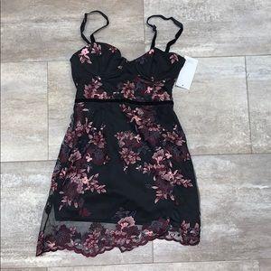 Black floral bodycon dress